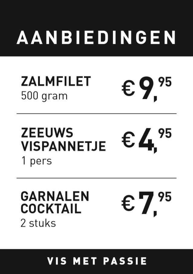 Poster Zalmfilet, Zeeuws vispannetje, garnalen cocktail