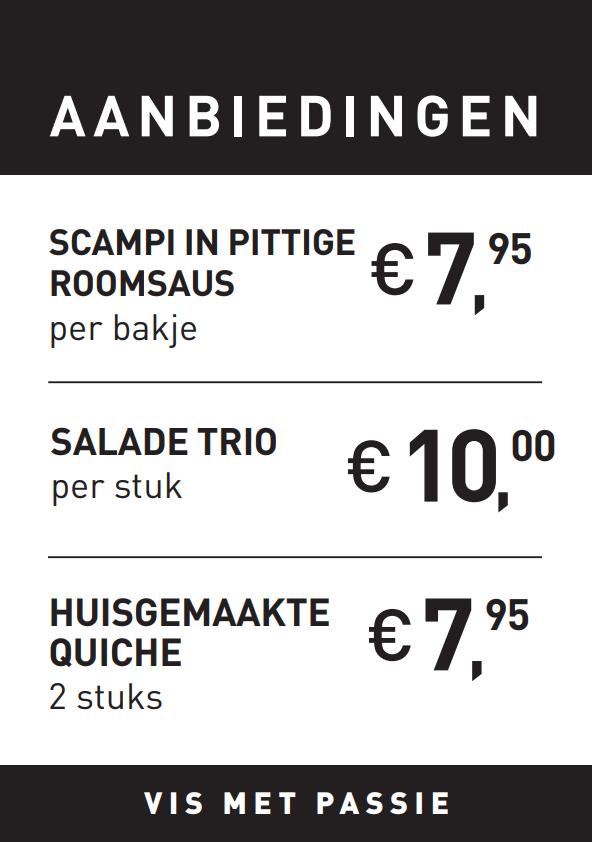 Scampi pittige roomsaus, salade trio, huisgemaakte quiche